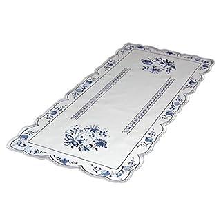 Küchentextilien klassisch Tischdecke Plauener Spitze 30x80 cm rechteckig Weiß ZWIEBELMUSTER Blau Küche Esszimmer Eleganz Made in Germany (Tischläufer 30x80 cm)