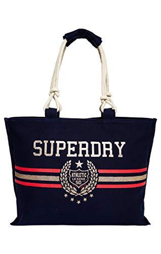 Superdry Damen Amaya Rope Tote Henkeltasche, Blu (Crest Navy) 56x36x16 cm -