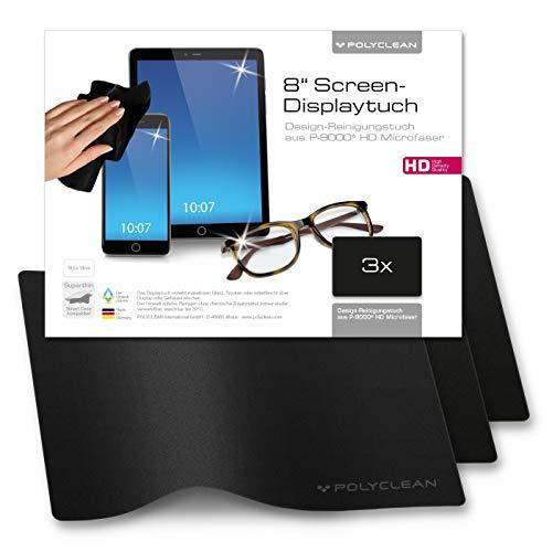 3x POLYCLEAN Displaytuch aus Microfaser P-9000 / Reinigungstuch für iPad, Tablet & Co. / Perfekter Schutz zwischen Hülle & Display (18,5 x 14,0 cm, Schwarz)