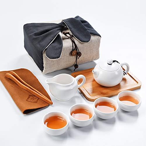Handgefertigte tragbare Kung Fu Tee-Set, Tee-Set im japanischen Stil, Reiseset mit Teetasse, Teekanne, Tee-Tablett (weiß)