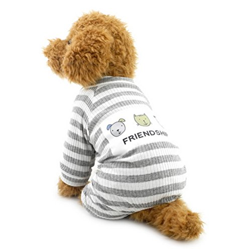 zunea Streifen Schlafanzüge für kleine Hunde Baumwolle Puppy Jumpsuit Sweatshirts Outfits Cozy Weich Freizeit Herbst Pet Cat Doggy (Pitbulls Halloween Kostüme Für)