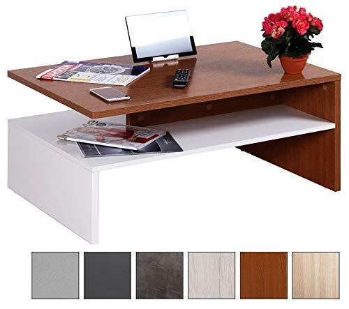 RICOO Couchtisch mit Stauraum WM080-W-ER TV Wohnzimmertisch Kaffeetisch Beistelltisch Wohnzimmer Couch Tisch Klein Viereckig Rechteckig Modern Design | Holz Hell Weiß & Eiche Dunkel Rustikal -