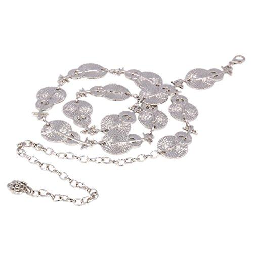 Day of Saturn Fashion Damen Metall Kette Pipa Form Gürtel,Silber