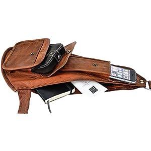 410HKKZZSOL. SS300  - Gusti Leder nature Ness Mochila Vintage de Cuero de Cabra Auténtico Estilo Retro Unisex Bolso Cruzado de Piel G11