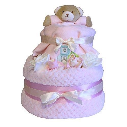 de luxe Gâteau de couches niveau 2 Design Comprend couette nounours rose ou bleu design idéal nouveau-né bébé présent Fête de naissance bébé maternité Leave cadeau - Rose