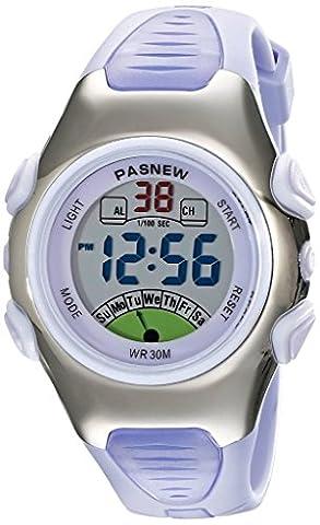 Fashion Pasnew Waterproof Children Boys Girls Digital Sport Watch with Alarm, Chronograph, Date (Purple)