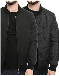 Men's Designer Quilt Lined Light Padded Reversible Jacket Casual Full Zip Coat