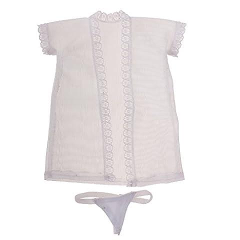 Gazechimp Sexy 1/6 Mesh Nachtwäsche Top mit Unterwäsche - Schlafanzug Kleidung Set für 12 Zoll weibliche Action Figur Puppen - Weiß