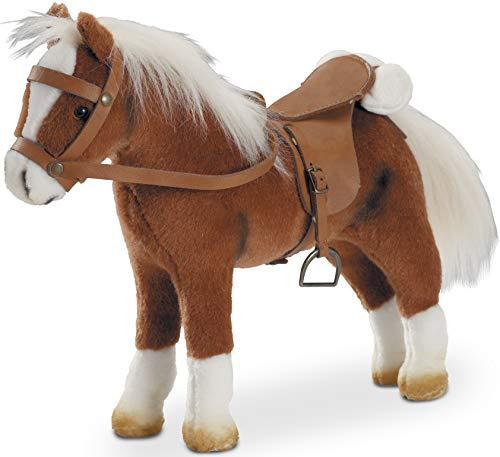 Götz 3401099 Springturniersieger - Pferd mit Sattel und Zaumzeug aus Plüsch - braunes Pferd für Kinder ab 3 Jahren