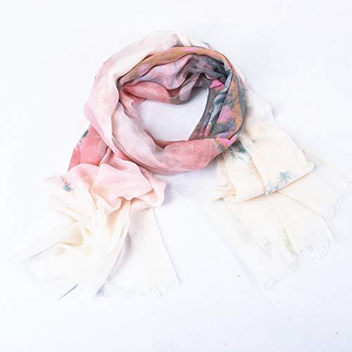 Aquazolax Damen Schal und Wickeltuch Schmetterling/Streifen/Sterne/Blumen Muster extra weich für alle Jahreszeiten - Pink - Mittel Rosa Chiffon Wrap