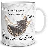 TRIOSK Tasse Katze Luxusleben lustig mit Spruch Ich arbeite hart Katzenmotiv Geschenk für...
