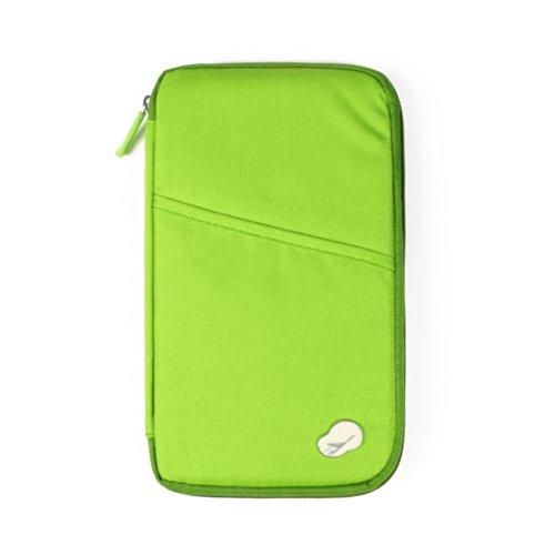 SAVFY® Reiseorganizer Reisedokumententasche Reisebrieftasche mit Reißverschluss, für Münzen, Stift, Kreditkarten, Flugkarten, Passport (grün)