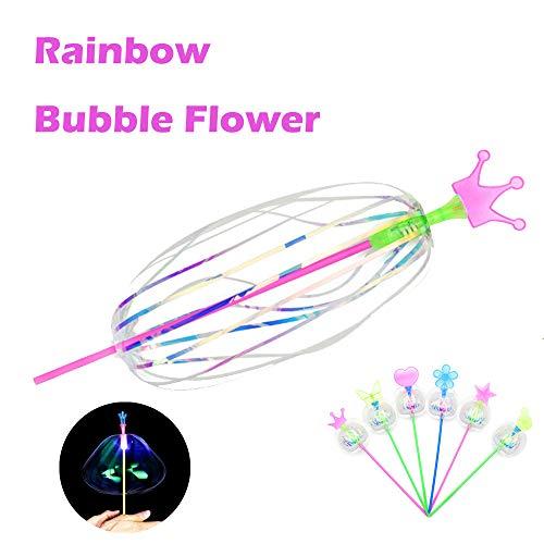 Yagii Aufhellen Zauber Spinnen Stock mit Licht Dreh Bubble Ball Spielzeug Geschenk LED Blitzlicht Bubble Ball Zauber Stock Regenbogen Zauberstab (Halloween-kostüme Regenbogen Helle)