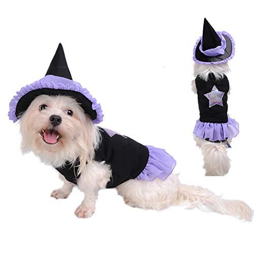 Legendog Halloween Haustier Kostüm Spitze Hund Hexe Hut -