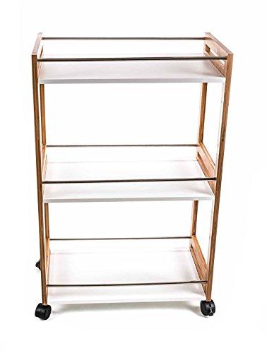 Unbekannt Küchenwagen/Servierwagen mit 3 Etagen, Kombi-Design Weiß/Holz/Edelstahl, Größe ca. 51 x 30 x 81 cm