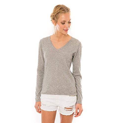 Hector et Lola - Pull Femme - Col V - Coton - Cachemire gris chine