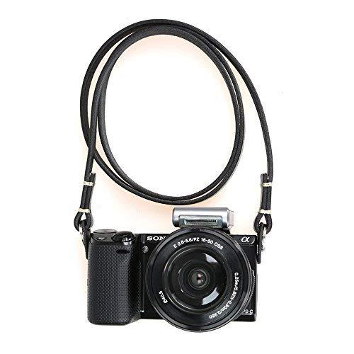 canpis Echtem Slim Leder Kamera Hals Schultergurt für Fuji Sony Olympus Lecia, Vintage Leder Kameragurt (Schwarz Farbe) (Kamera Slim Sony)