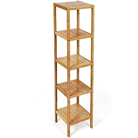 Songmics Estantería de bambú de 5 niveles para hogar y baño Estante de libros 146 x 33 x 33 cm BCB55Y
