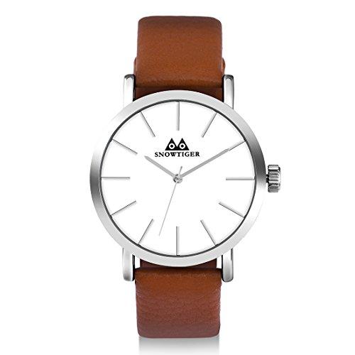 Azhien uhren herren armbanduhr damen Uhr braun Echtes Lederband, Klassisch Modisch Geschäfts Casual Sport Armbanduhr 3ATM Wasserdichte