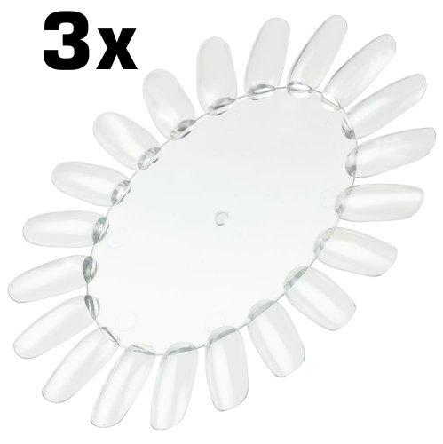 3x Präsentationsdisplay / Farbrad / Tip-Rondell mit 20 Tips transparent-klar (sehr stabil) rund-oval zur Veranschaulichung von Nagellack, UV-Gel, Airbrush, One-Stroke, Nailart Display-muster