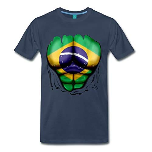 Spreadshirt Brasilien Flagge Muskel Männer Premium T-Shirt, S, Navy