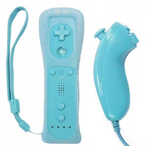 OSTENT Telecomando per sensore di movimento + Combo Nunchuck cablato compatibile per console Nintendo Wii Colore blu