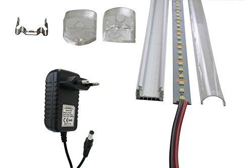 LED Streifen 1m Strip 72 SMD LEDs Warmweiß Kaltweiß Unterbaubeleuchtung Aluminium Profil Alu Leiste Schiene 1m 12V DC Netzteil Adapter Trafo LED Stripe Set LED + Rahmen + Netzteil Kaltweiß 4x