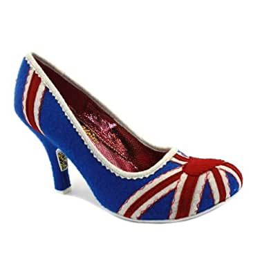 Irregular Choice Women's Patty Floral Union Jack Shoes- Navy/Red - 7