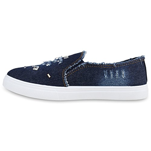 Damen Sneakers Slip-ons Jeans Denim Slipper Strass Schuhe Dunkelblau