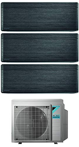 Climatizzatore Trial Split 7000 + 9000 + 12000 Btu, Inverter, Classe A+++/A+++ Gas R32 Wi-Fi colore BlackWood Stylish 3MXM52N+FTXA20/25/35AT