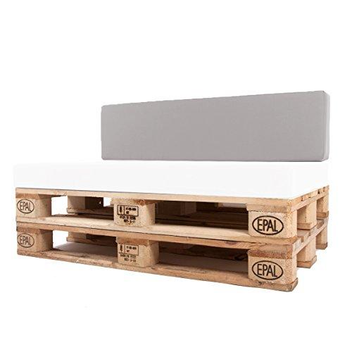 Arketicom Pallet-One Cheope Outdoor-Sofa Gepolsterte Rückenlehne für Outdoor-Sofa aus Euro-Paletten, wasserabweisend, Bezug abnehmbar, verschiedene Farben Modern 80x30x15 102 Grigio