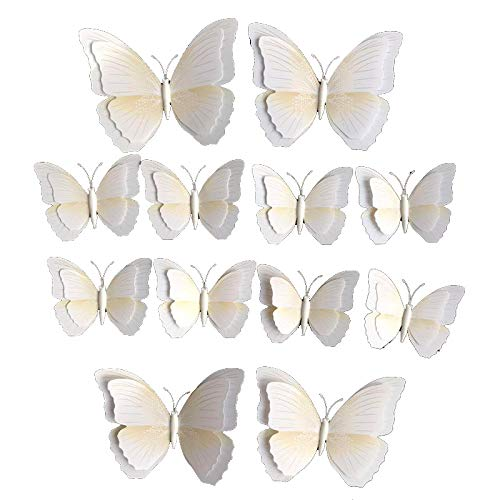 Kentop 12pcs 3D Blanco Extraíble de Flores Hada Mariposas Pared Adhesivos Adhesivo o Pins (Pin)