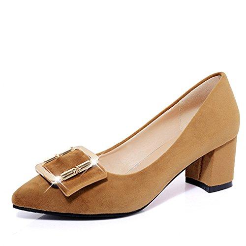 Chaussures de printemps point lumineux de la femme/chaussures de loisirs/grossier avec talons hauts côté boucle chaussures/Chaussures de travail C