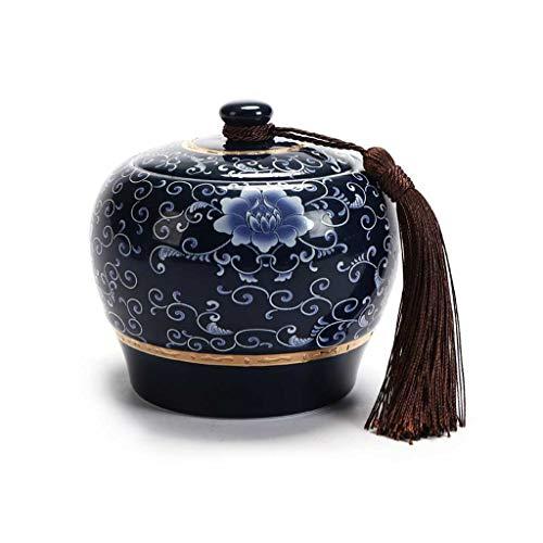 AUGAUST Récipient de Stockage de thé en céramique Gland décoratif Non tissé Wrap Cover Design Bon modèle d'étanchéité Belle (Couleur : A, Taille : 650ml)