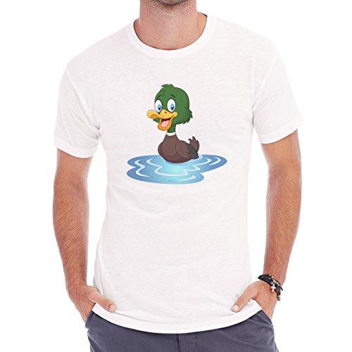 Duck Swimming In The Pond Herren T-Shirt Weiß