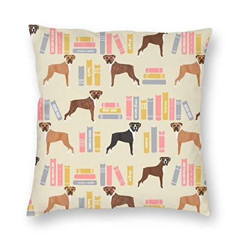 Huabuqi Boxer Bibliothek Bücher Cute Dog Breed Lite_649 Dekorative Kissenbezug Home Decor Kissenbezug Bunte 18x18inch -