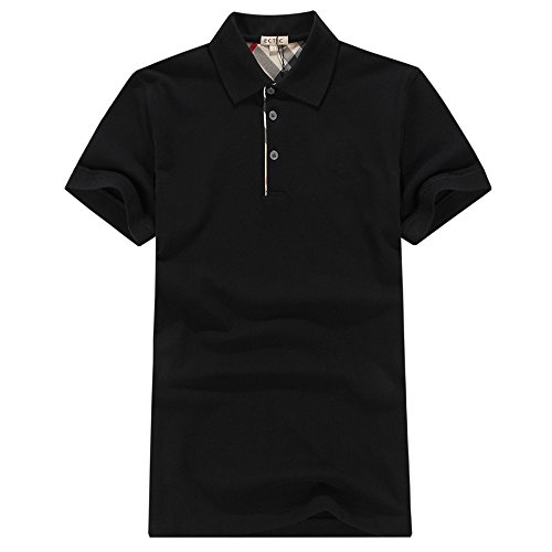 ECTIC Uomo Men Classic style business Polo shirt Poloshirts B9985 Size S-XXL Black