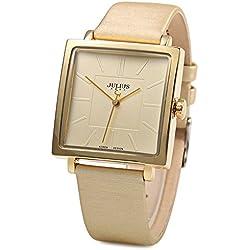 Leopard Shop Julius Unisex Casual Quarz Armbanduhr quadratisches Zifferblatt Leder Golden