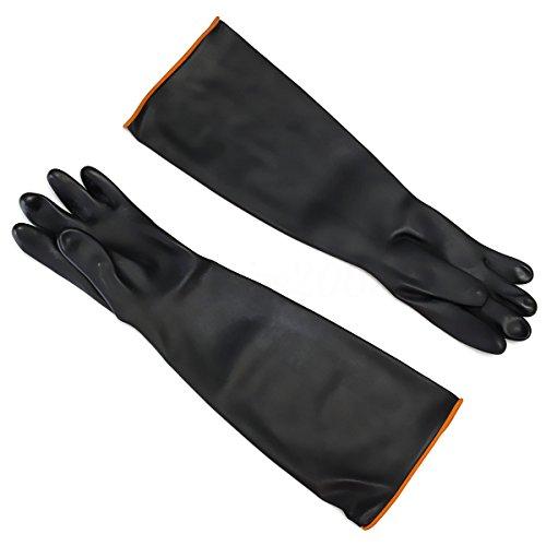 Heavy Duty Latex Handschuhe, puqu 39,9cm Puder Latex Industrie Gummi Handschuhe widerstehen Starke Säure, Alkali und Öl, 40cm, 1Paar, schwarz