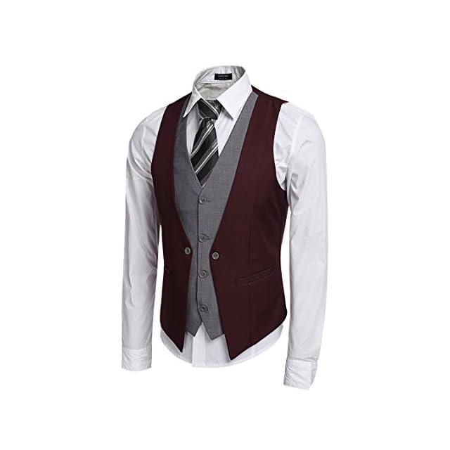 Coofandy Gilet de Costume Homme Veste sans Manche Casual Mariage Taille S-XXL  ... 6ebbd7e6805