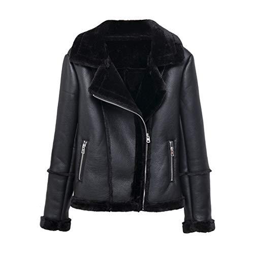 MISSMAO Jacke Damen Übergangsjacken V Ausschnitt Kleidung Mantel Fell Winterjacke Jacket Wintermantel Top Coat mit Schrägem Reißverschluss,Schwarz,S