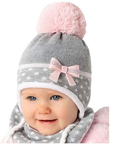 For you Baby Winter Mütze Mädchen Babymütze Set Größe 44/46 Grau/Rosa/Weiß 6 bis 18 Monate alt mit Glitzer-Faden am Boppel (Grau/Rosa/Weiß A)