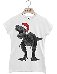 Batch1 T-Rex With Santa Hat Christmas Dinosaur Novelty Xmas Womens T-Shirt