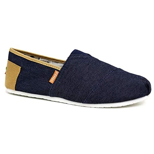 Mens Espadrilles Pumps De Baggio 2-Tone Denim Canvas Slip On Trainers