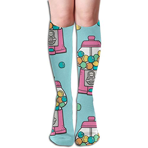 Fun Life Art Blasen-Gumball-Maschinen-Rosa auf blauem bequemem erwachsenem Knie-hoher Socken-Turnhalle im Freien Socken 50cm , 19,7 Zoll - Gumball Maschinen