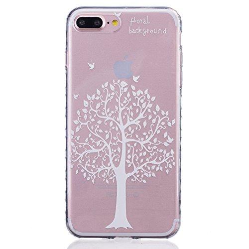 iPhone 7 PLUS Hülle, Cozy Hut ® [Liquid Crystal] [Ultra Dünn] Bumper-Style Premium-TPU / Sehr Leicht / Perfekte Passform / Durchsichtiges Soft-Case Schutzhülle für Apple iPhone 7 PLUS (5.5 zoll), Appl Weiße Bäume
