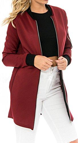 Eudolah Damen Jacke lang mit Reissverschluss Sweatshirts Jumpsuit Winerot