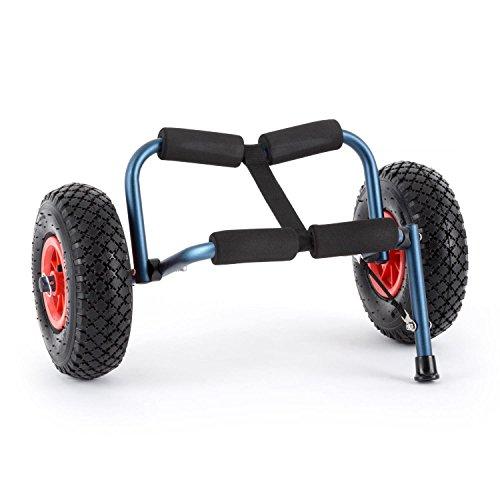 DURAMAXX Sea Mule BL Carrello Kajak 2 Ruote Pieghevole Supporto Trolley Cavalletto in Alluminio Anodizzato (60 KG MAX, Due pneumatici in gomma estraibili con valvola automatica, coppiglia pieghevole) Blu