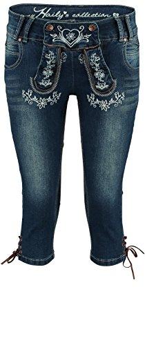 Hailys Damen Capri Jeans Caprihose Trachten Look Lederhose Oktoberfest Blue XXL
