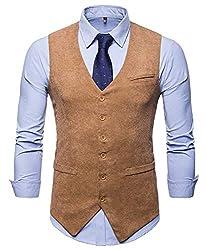 WHATLEES Herren Schmale Tweed Weste mit Zweireihige Knopfleiste, Ba0117-khaki, XXL